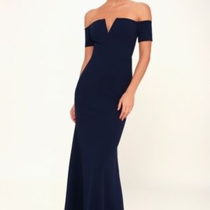 Navy Off-The-Shoulder Maxi Dress Lulus - SMALL